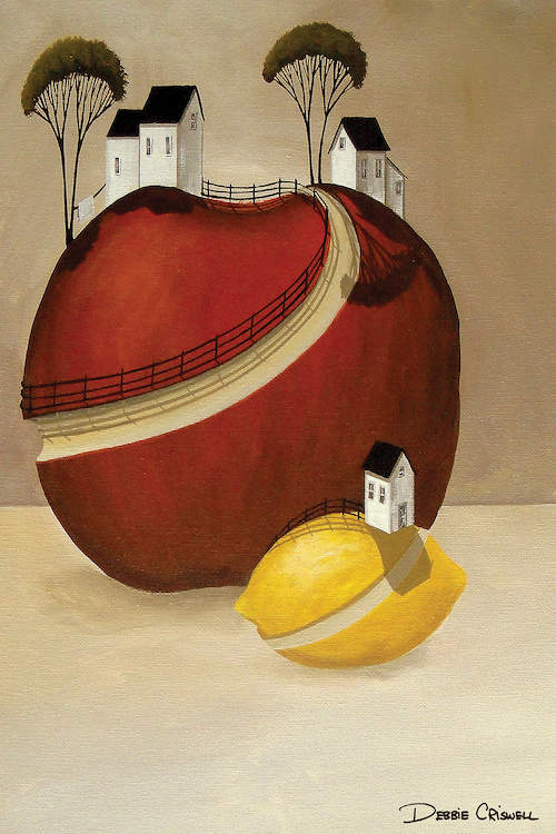 """""""In A Dream"""" by Debbie Criswell shows a lemon and an apple with houses on top of them and cut out pieces as the driveways."""