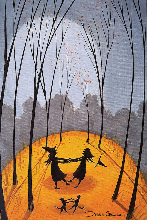 """""""Merry Go Round Witches"""" by Debbie Criswell shows two witches holding hands in the woods with two cats in front of them."""