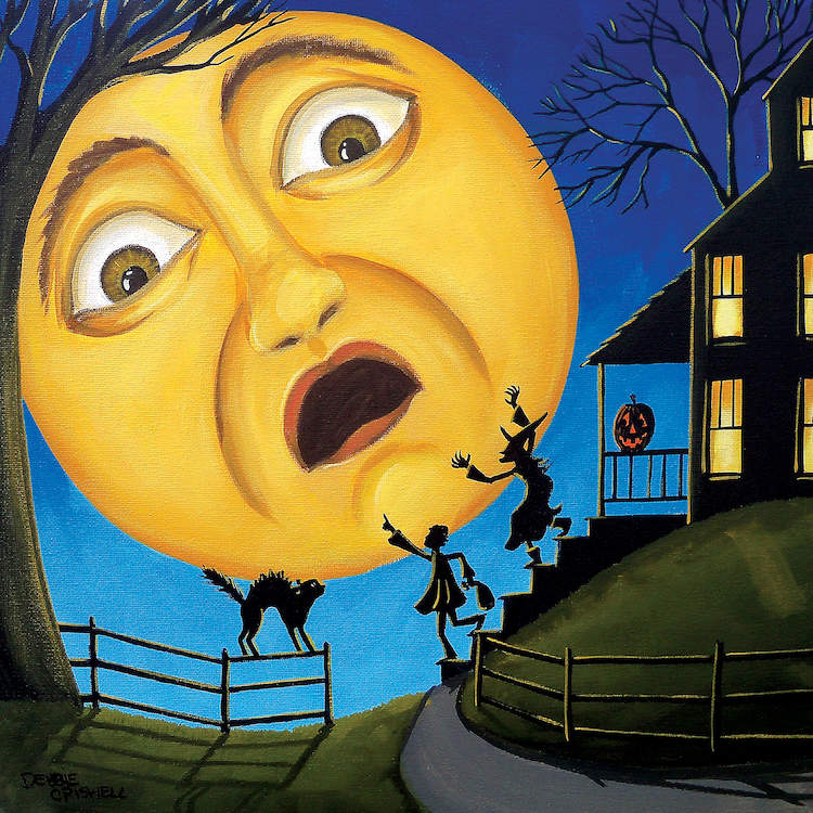 """""""Scare The Moon"""" by Debbie Criswell shows a large, yellow moon with a scared expression gazing at a child, witch, and cat."""
