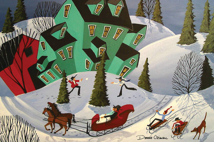 """""""Sleigh Ride"""" by Debbie Criswell shows a man in a red horse-drawn carriage with kids riding sleds and throwing snowballs in the background."""