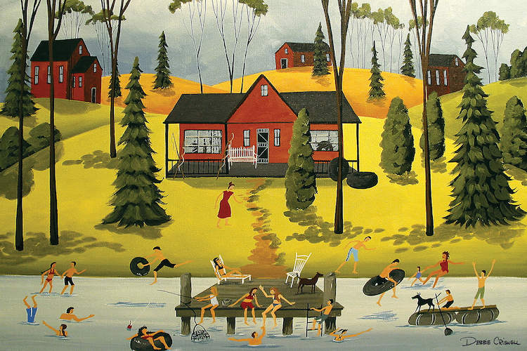 """""""Summer Weekends"""" by Debbie Criswell shows people swimming and sitting at the end of the dock with red houses and trees in the background."""