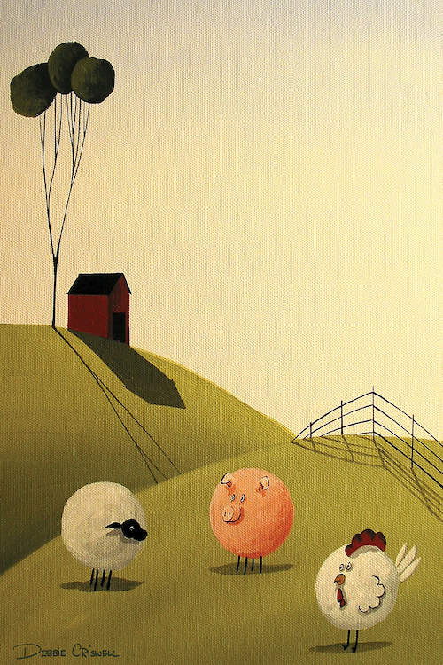 """""""The Breakfast Club"""" by Debbie Criswell shows a sheep, pig, and chicken standing in the grass with a red barn in the background."""