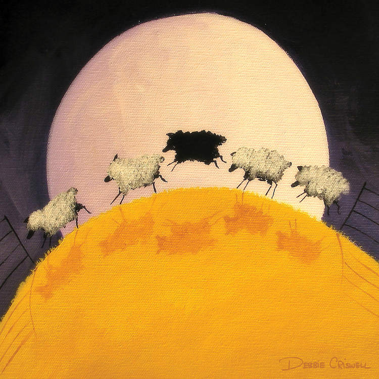 """""""There's One In Every Crows"""" by Debbie Criswell shows five sheep in a row in yellow grow with the large moon in the background."""