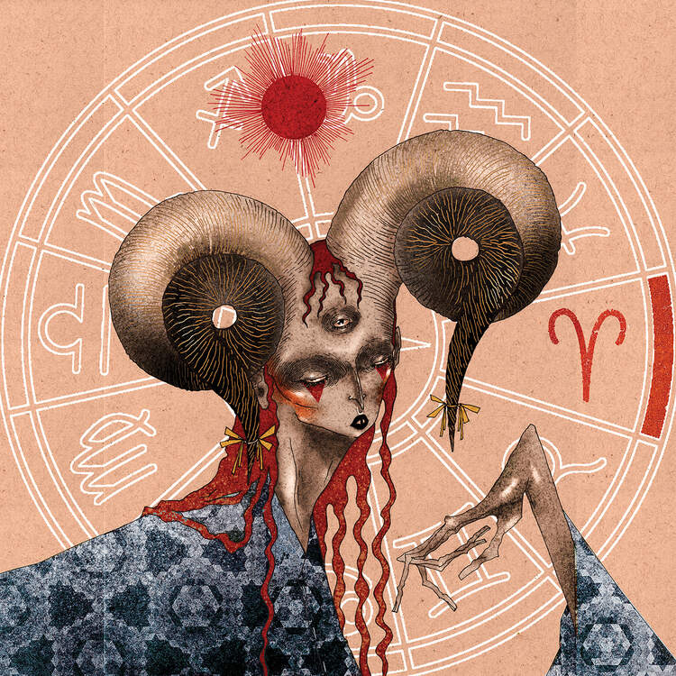 """Aries"" by DEMÖ shows a ram-like person with red hair and a blue cape standing in front of a zodiac wheel."