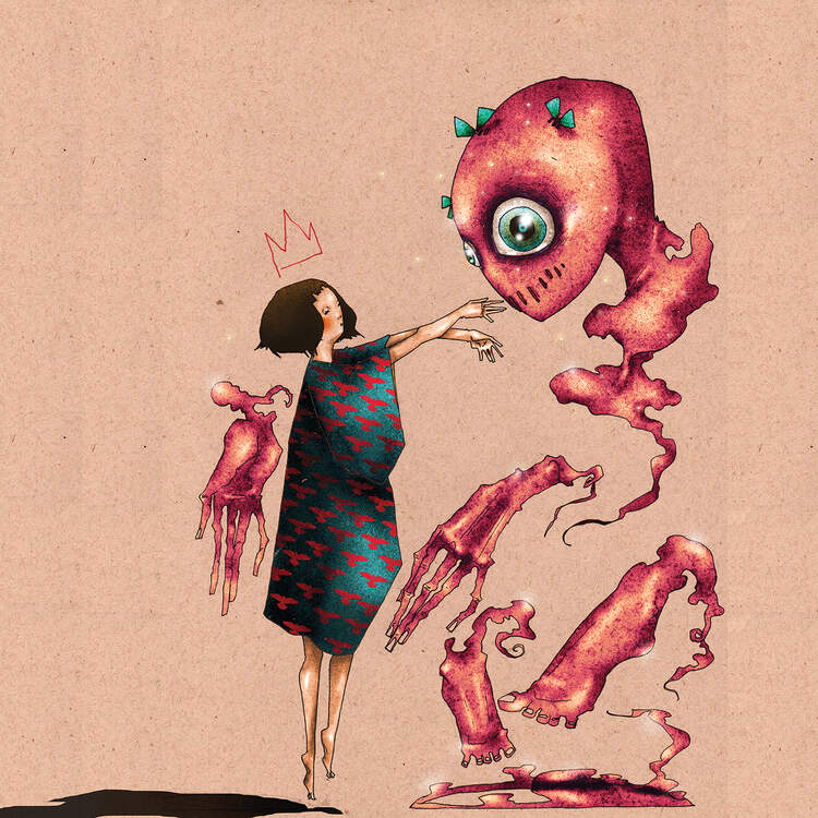 """Conjuring A Best Friend"" by DEMÖ shows a person wearing a red and blue dress extending their arms out to a pink alien-like creature with bulging blue eyes."