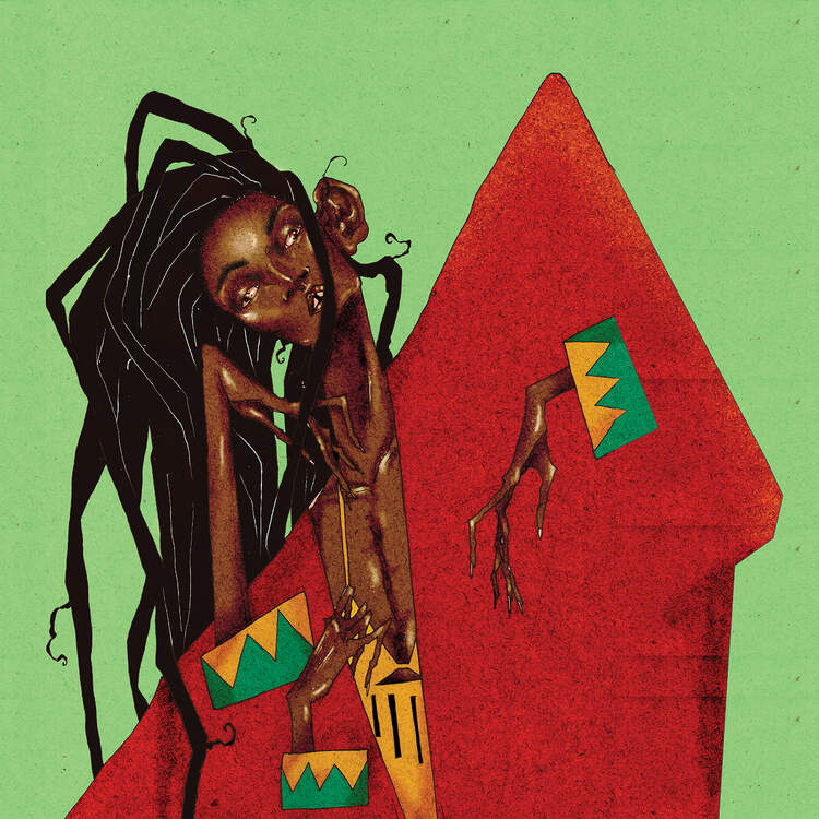 """Jamaican"" by DEMÖ shows a person with dreads wearing a red top with yellow and green prints on the sleeve."