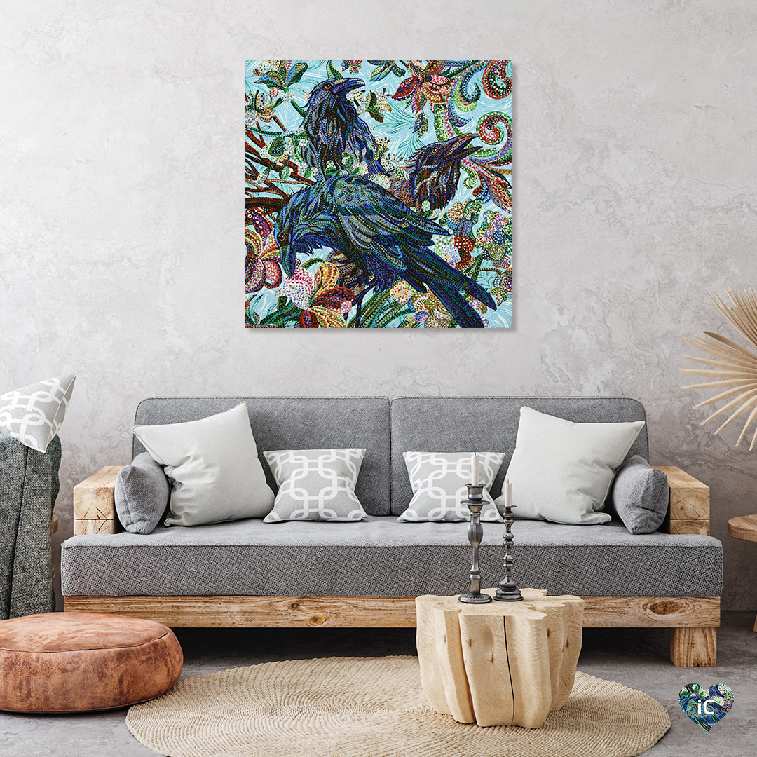 """""""3 Birds"""" by Ebova shows three blue birds with ruffled feathers surrounded by flowers, created from numerous small dots."""
