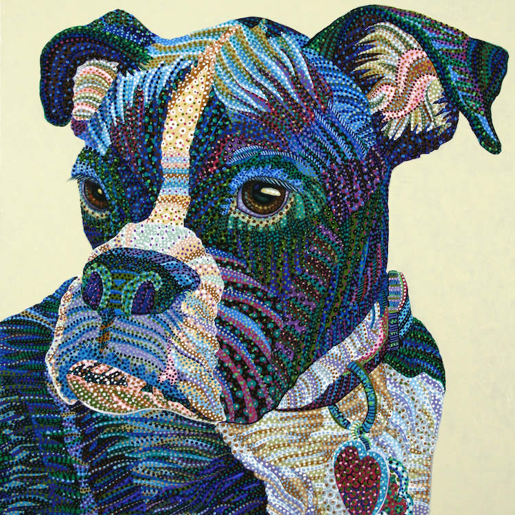 """""""Boxer Portrait"""" by Ebova shows a blue, green, and purple colored boxer wearing a heart-shaped tag from its collar, created from numerous dots and lines."""
