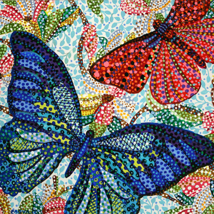 """""""Chase"""" by Ebova shows a blue and a red butterfly surrounded by colorful florals and plants, created from numerous dots and lines."""