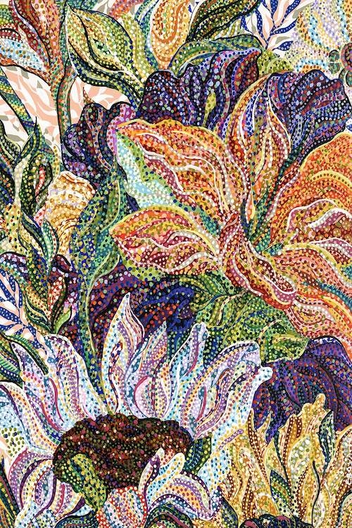 """""""Erubescens"""" by Ebova shows orange, yellow, and purple flowers surrounded by green leaves, created from numerous dots and lines."""