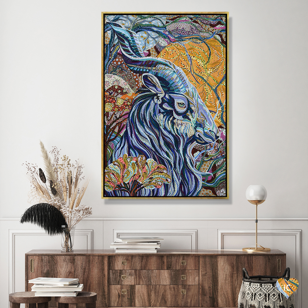"""""""Full Moon"""" by Ebova shows a blue goat with twisted horns surrounded by various plants, created from numerous small colorful dots."""