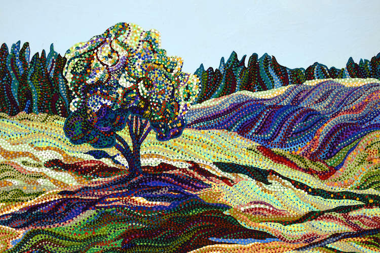 """""""Greengrass"""" by Ebova shows a tree in an open field, created from numerous dots and lines."""