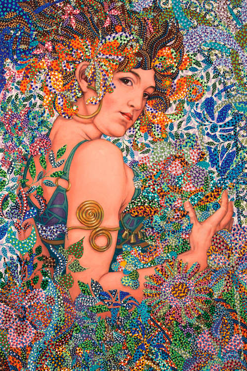 """""""Harmony"""" by Ebova shows a woman surrounded by multicolored flowers and plants created from numerous small dots."""