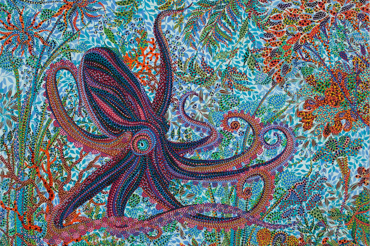 """""""Octopus"""" by Ebova shows a purple and blue octopus swimming through colorful plants under the sea created from numerous small dots."""