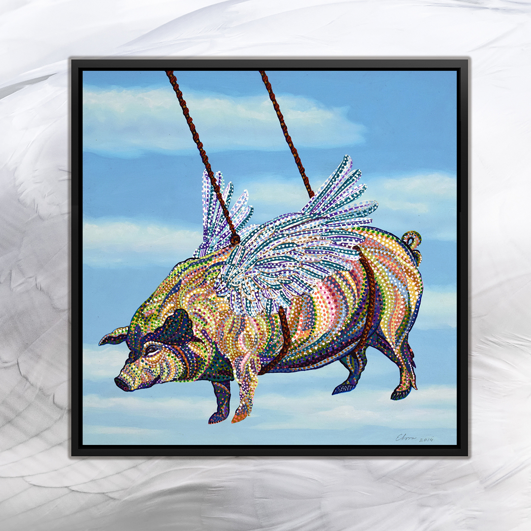 """""""Pig"""" by Ebova shows a pig with wings created from numerous small colorful dots that's being carried by ropes into a cloudy blue sky."""