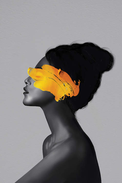 """Rebel Girl VIII"" by Henrique Nobrega shows a black and white profile of a woman with a pop of yellow paint covering her eyes."