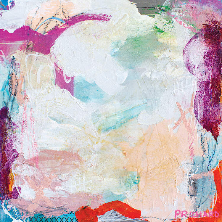 """""""Atmospheric Pressure II"""" by Julie Prichard shows an abstraction of purple, white, blue, red, and pink paint streaks."""