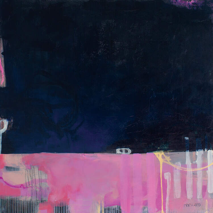 """""""Cocktail Attire"""" by Julie Prichard shows a black space above a pink, yellow, and tan abstraction featuring vertical lines."""