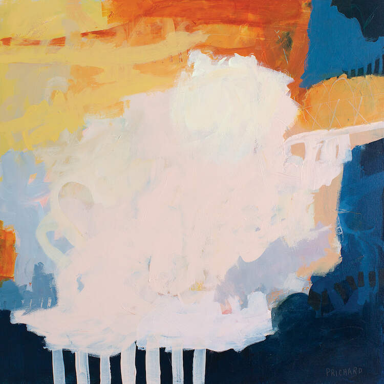 """""""Continental Breakfast"""" by Julie Prichard shows a large white circle-like figure surrounded by an abstraction in shades of blues and orange."""