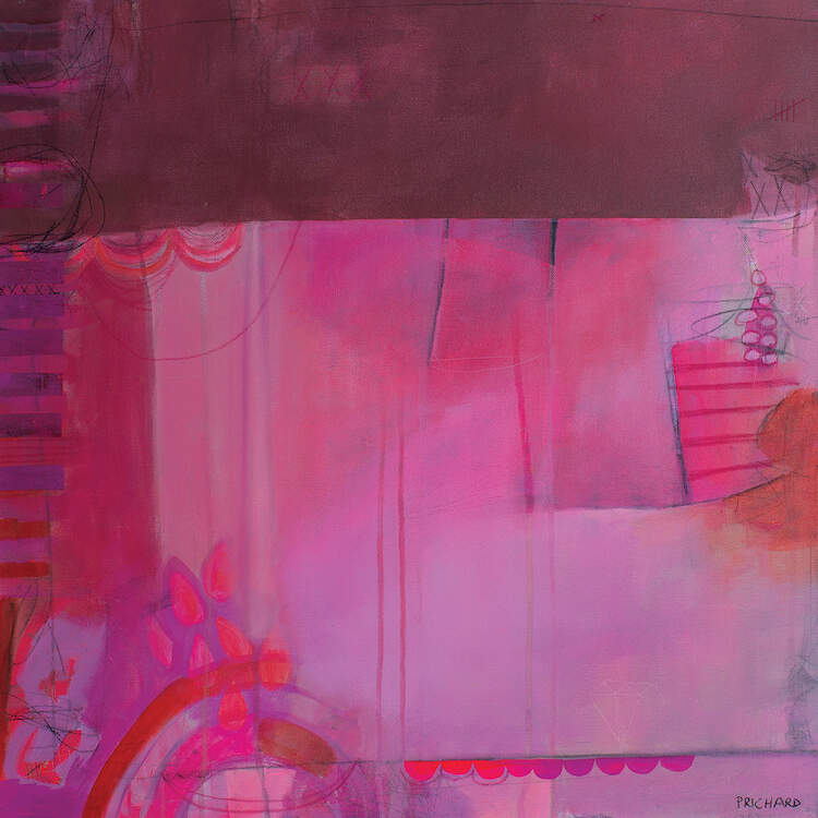 """""""I'm A Diamond"""" by Julie Prichard shows an abstraction in various shades in pink and purple with randomly appearing small patterns of lines and circles."""