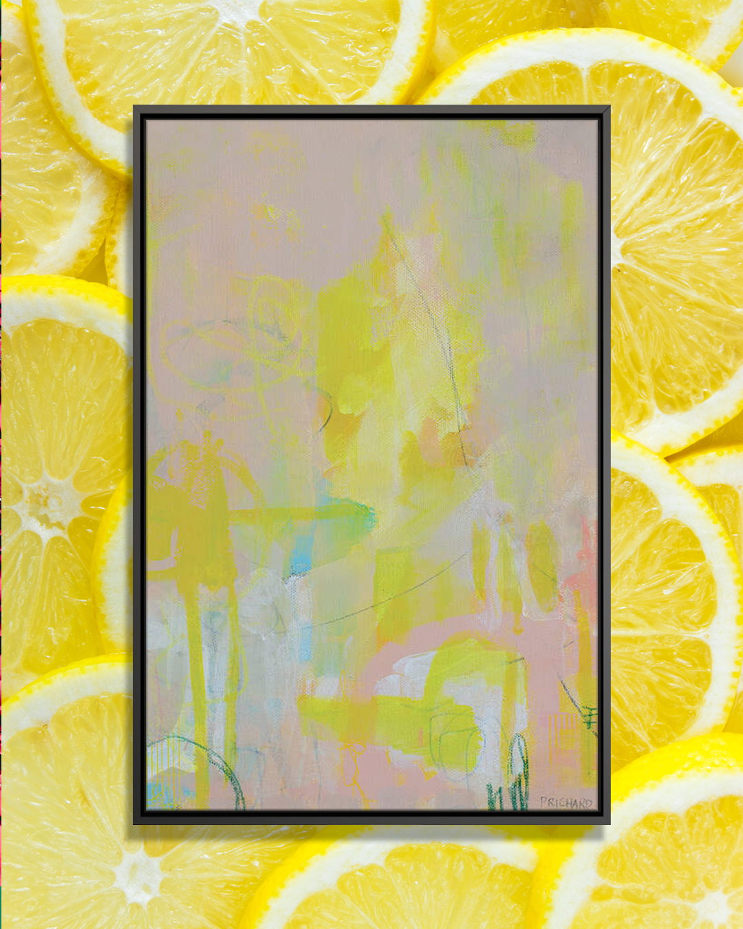 """""""Lipgloss And Lemon Pie"""" by Julie Prichard shows yellow shapes and streaks against a pink background with pops of white and green."""