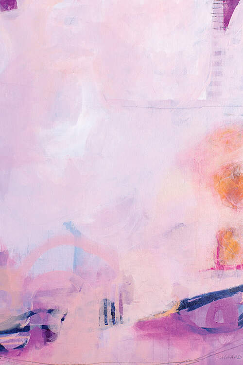 """""""Sherbet With Willy Wonka"""" by Julie Prichard shows an abstraction in light purples and pinks featuring splashes of orange."""