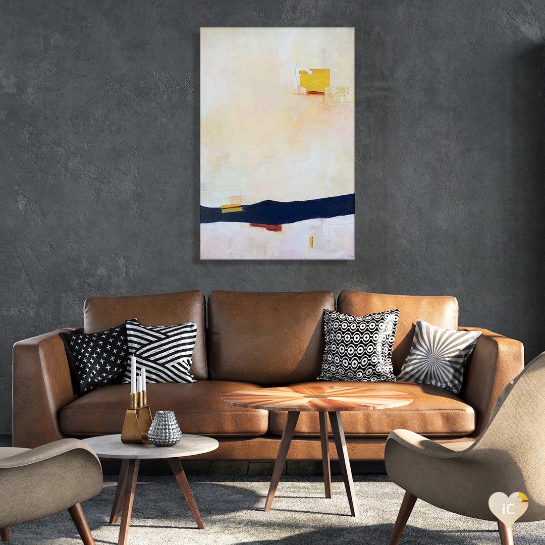 """""""Tangerine And Blush"""" by Julie Prichard shows a thick horizontal navy line and a few scattered yellow figures against a textured cream-colored background."""
