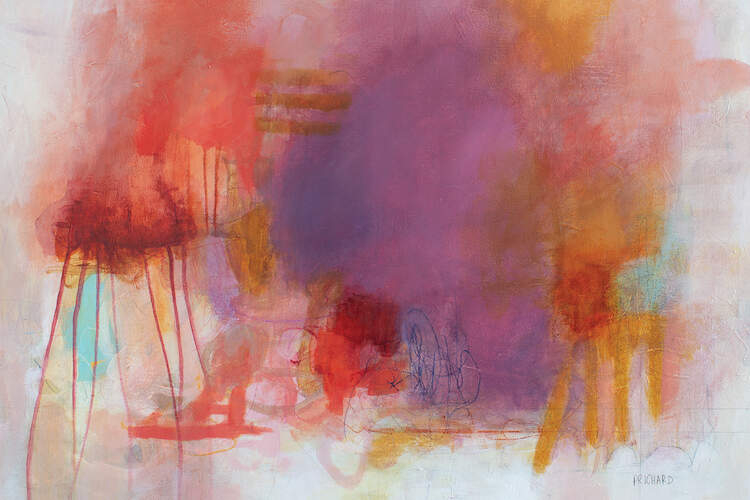 """""""Yesterday's News"""" by Julie Prichard shows an abstraction with red, purple, and gold elements."""