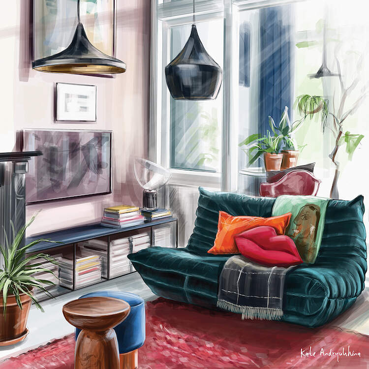 """""""Spring in a House"""" by Kate Andryukhina shows a room with a dark green sofa, orange and red throw pillows, and indoor plants in a sunny living room"""
