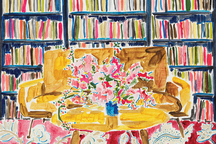 """""""Library with Flowers"""" by Kate Lewis shows a yellow couch and a coffee table holding a blue vase full of flowers against a wall of brightly colored books."""
