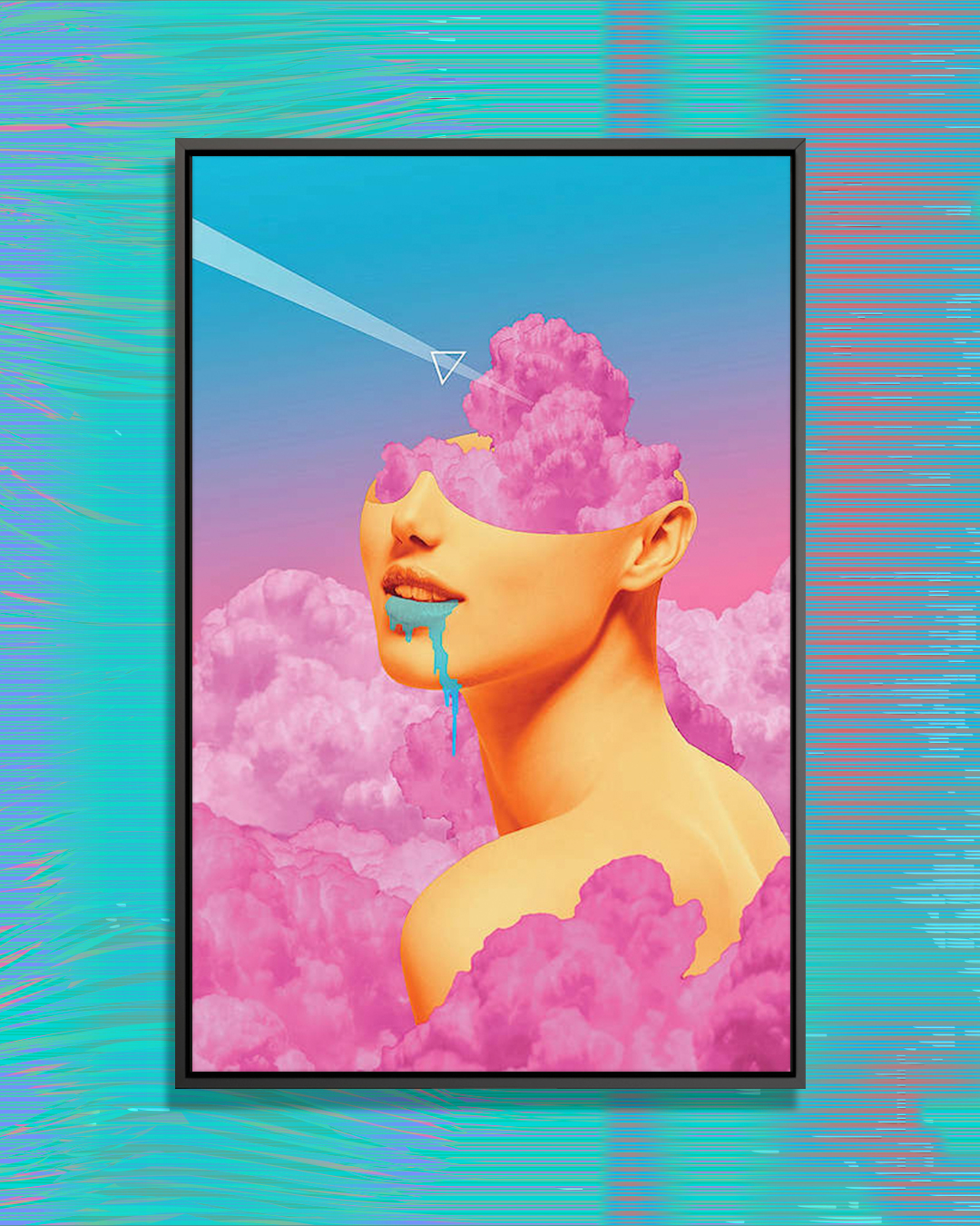 """Lucy"" by maysgrafx shows half of a human face engulfed in pink clouds."