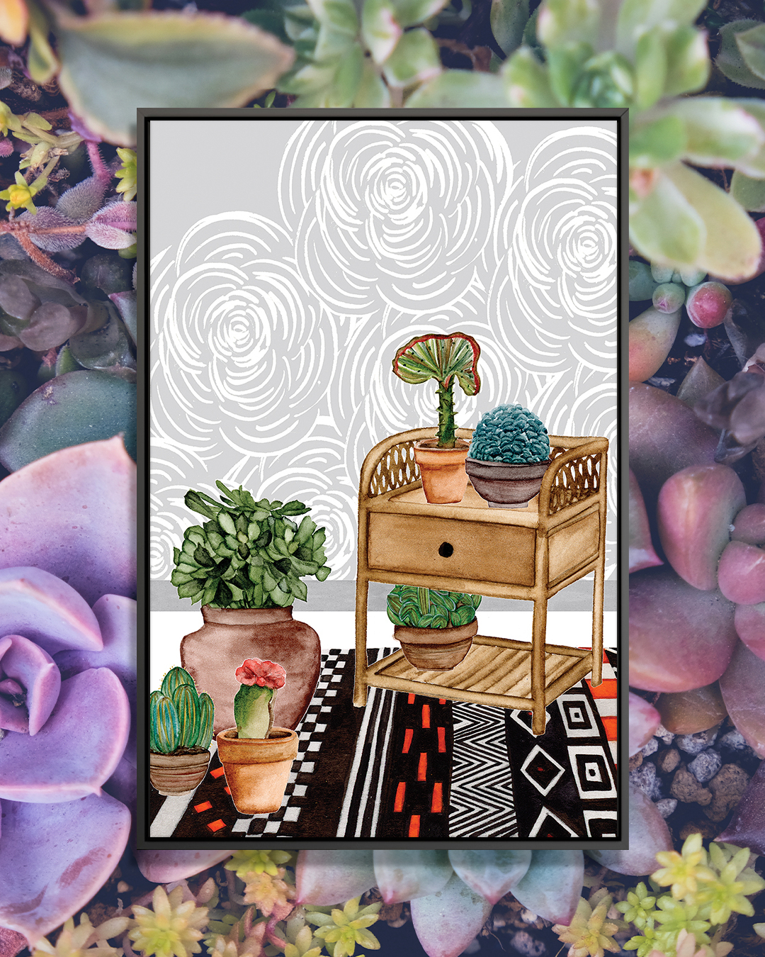 """""""Desert Weavers II"""" by Melissa Wang shows a wooden side table on a black and red rug surrounded by potted cacti with gray, floral wallpaper."""