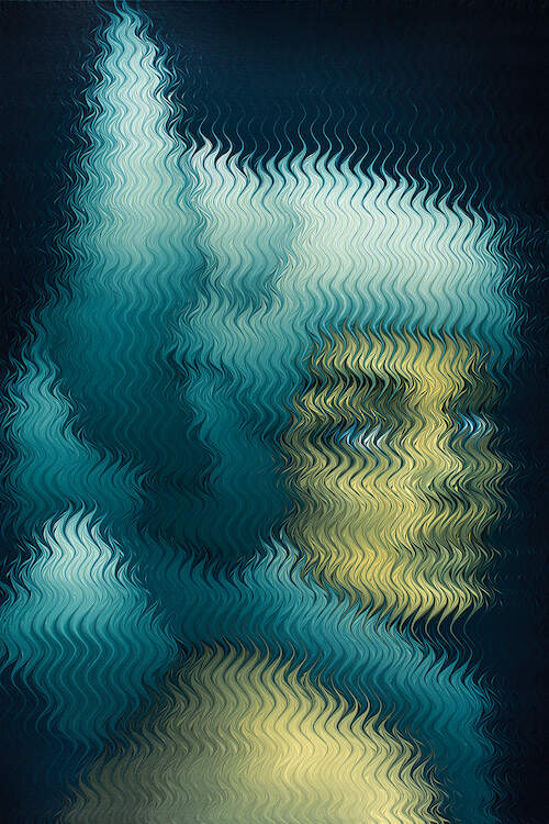 """""""How To Hover"""" by Mikael Takacs shows an obscured portrait of a person with blue hair and a yellow face behind a pixelated-like texture of wavy lines."""