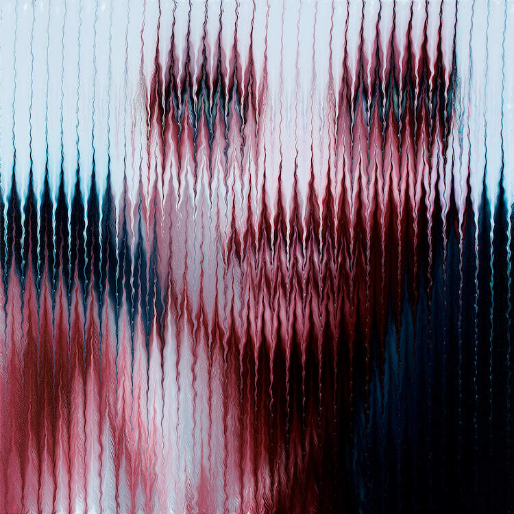 """""""Masked II"""" by Mikael Takacs shows an obscured portrait of a person behind a strip of white and a pixelated-like texture of wavy lines."""
