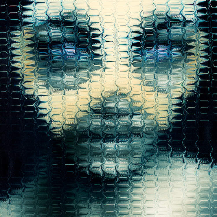 """""""Masked V"""" by Mikael Takacs shows an obscured portrait of a blue person wearing a yellow eye mask."""