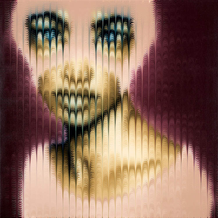 """""""Masked X"""" by Mikael Takacs shows an obscured portrait of a blue-eyed person wearing a pink mask behind a pixelated-like texture of arched lines."""