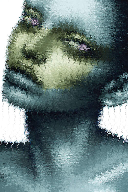 """""""Toxic"""" by Mikael Takacs shows an obscured portrait of a green and blue person with purple eyes behind pixelated-like texture of wavy lines."""