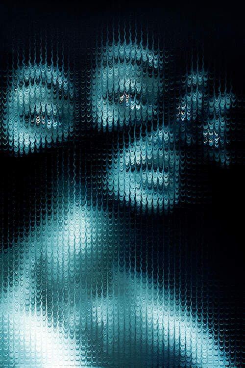 """""""Watch Yourself"""" by Mikael Takacs shows an obscured portrait of a blue person with four eyes behind a pixelated-like texture of wavy lines."""