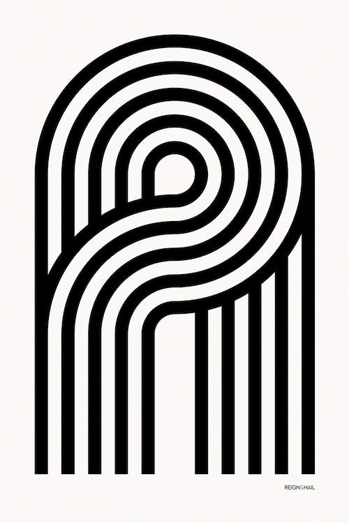 """A Geometric Letter"" by Reign & Hail shows five black, curved lines forming the letter A against a white background."