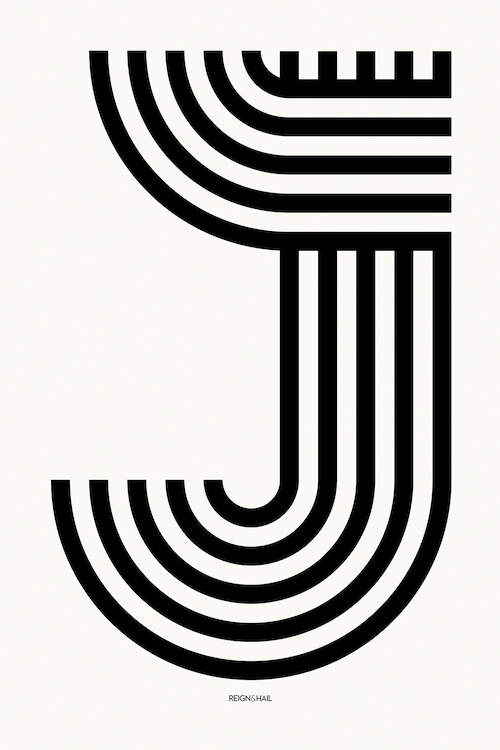 """J Geometric Letter"" by Reign & Hail shows five black, curved lines forming the letter J against a white background."