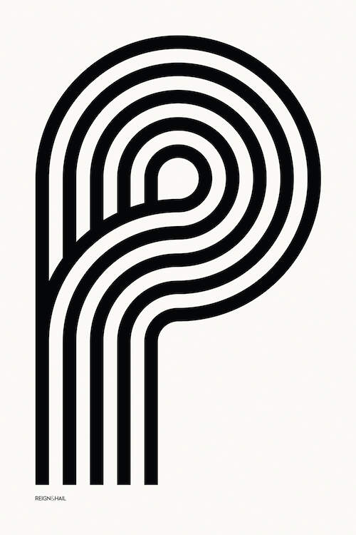 """P Geometric Letter"" by Reign & Hail shows five black, curved lines forming the letter P against a white background."