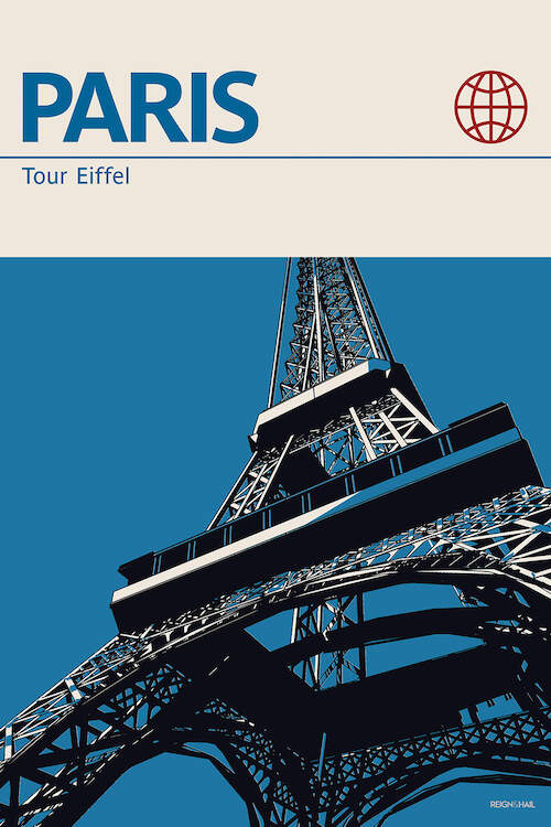 """Paris"" by Reign & Hail shows The Eiffel Tower against a blue background used to promote tours in Paris, France."