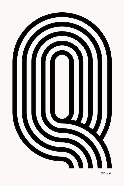 """Q Geometric Letter"" by Reign & Hail shows five black, curved lines forming the letter Q against a white background."