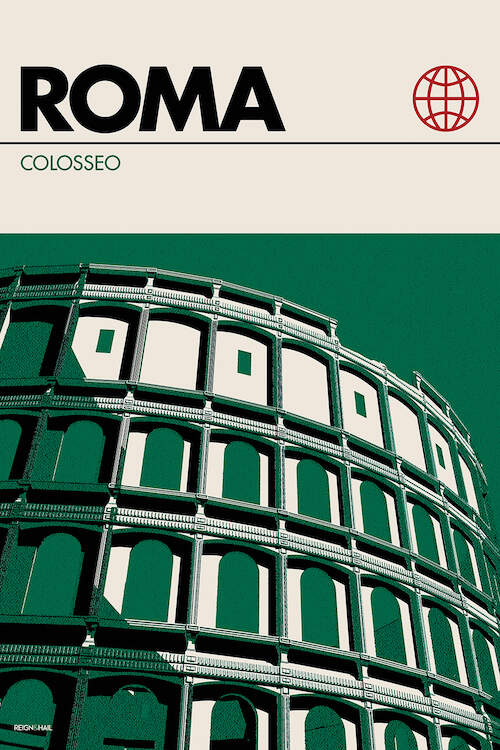 """Rome"" by Reign & Hail shows the Colosseum against a green background with the words ""Roma"" and ""Colosseo""."