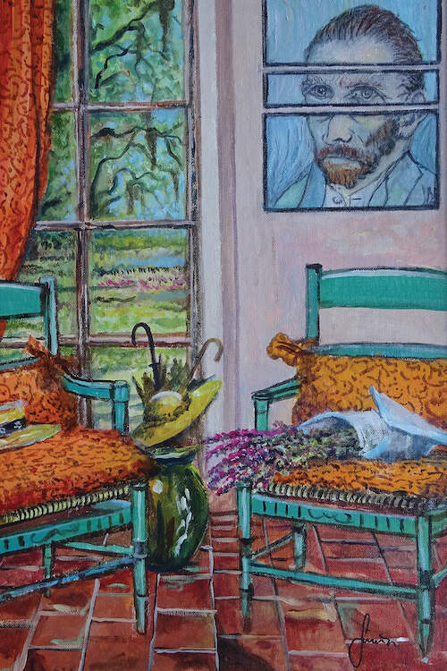 """""""The Colors Of Vincent"""" by Sinisa Saratlic shows the interior of a living room with a brick floor, two teal wicker chairs, and a three-piece portrait of Vincent van Gogh in the background."""