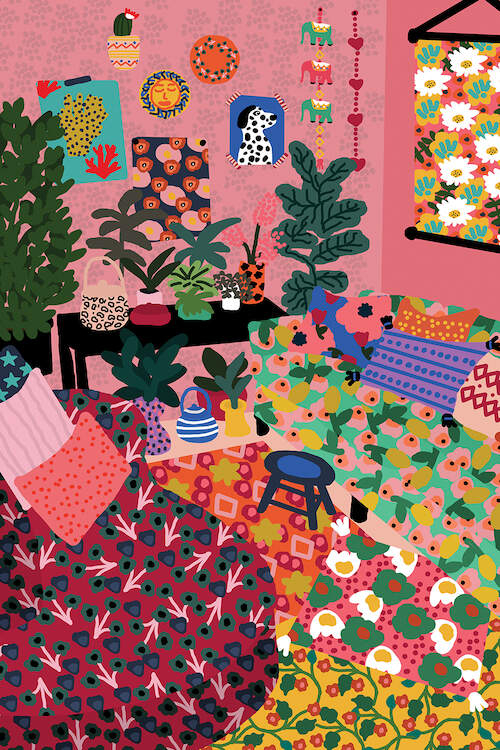 """""""Welcome To My Living Room"""" by Studio Grand-Père shows the interior of a living room with pink walls, house plants, and numerous brightly colored patterns across the floor and seating."""