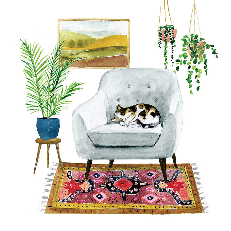 """""""Homebody II"""" by Victoria Borges shows a cat sleeping on a gray chair that's placed on a colorful rug, with house plants and a framed picture in the background."""