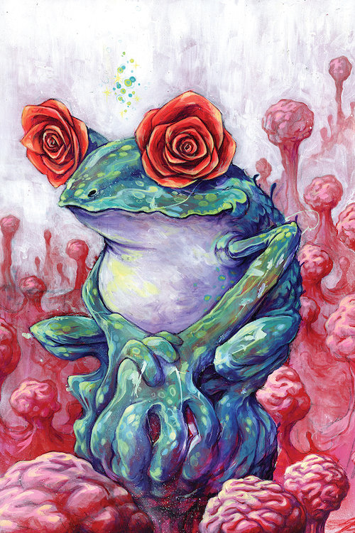 """""""The Reason You Dream"""" by Black Ink Art shows a frog with roses as eyes surrounded by brains."""