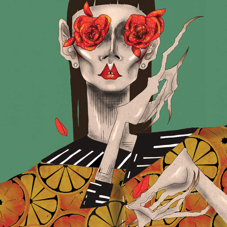 """""""Rose Eyes"""" by DEMÖ shows a person with distorted hands with red roses over their eyes."""