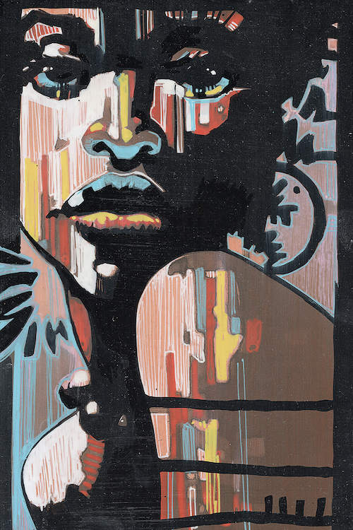 """""""Jazz In The Dark"""" by Fernan Mora shows a portrait of a woman with splashes of black, red, yellow, white, and blue lines across her face and shoulders."""